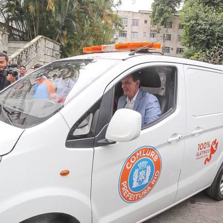 Carro elétrico da Comlurb que fará coleta de lixo em hospitais Foto: Prefeitura do Rio