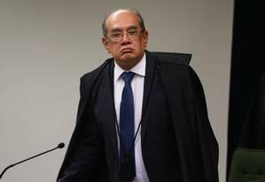 O ministro Gilmar Mendes, durante sessão da Segunda Turma do Supremo Tribunal Federal Foto: Givaldo Barbosa/Agência O Globo/05-06-2018