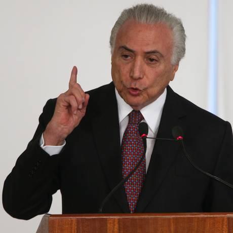 O presidente Michel Temer, durantecCerimônia de sanção do Renovabio Foto: Givaldo Barbosa / Agência O Globo