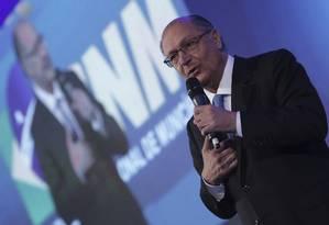 O pré-candidato do PSDB à Presidência Geraldo Alckmin Foto: Eraldo Peres / AP