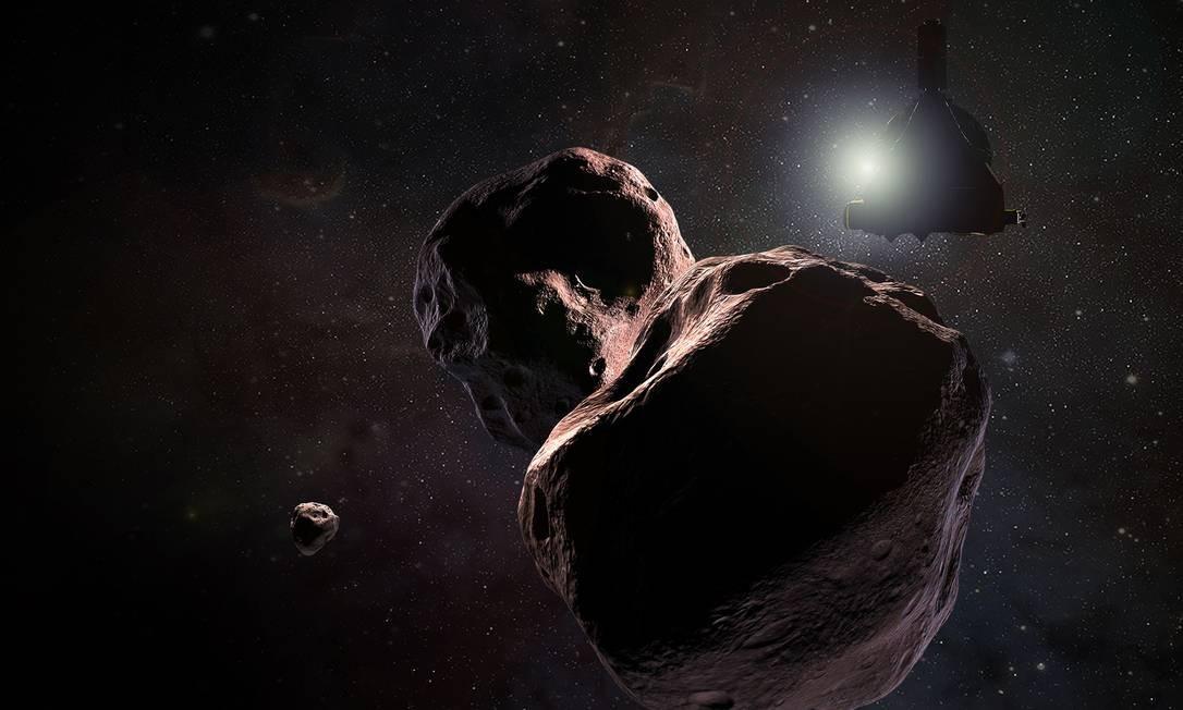 Ilustração mostra o Ultima Thule, objeto do Cinturão de Kuiper que a sonda New Horizons, na contraluz do Sol do desenho, deverá sobrevoar no primeiro dia de 2019 Foto: / NASA/Johns Hopkins University Applied Physics Laboratory/Southwest Research Institute/Steve Gribben