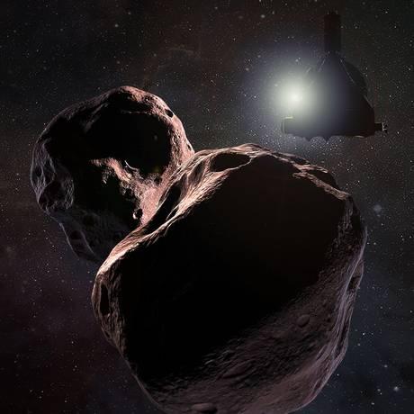 Ilustração mostra o Ultima Thule, objeto do Cinturão de Kuiper que a sonda New Horizons, na contraluz do Sol do desenho, deverá sobrevoar no primeiro dia de 2019 Foto: NASA/Johns Hopkins University Applied Physics Laboratory/Southwest Research Institute/Steve Gribben