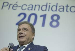 Pré-candidato pelo Podemos, Alvaro Dias participa de sabatina no 'Correio Braziliense' Foto: Daniel Marenco / Agência O Globo