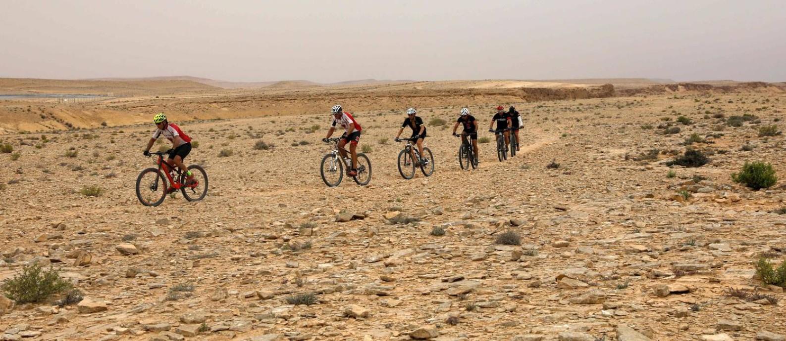 Ciclistas no deserto de Negev, em Israel Foto: MENAHEM KAHANA / AFP