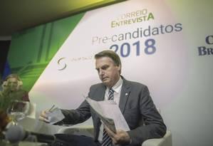 o deputado Jair Bolsonaro, pré-candidato do PSL à Presidência 06/06/2018 Foto: Daniel Marenco / Agência O Globo