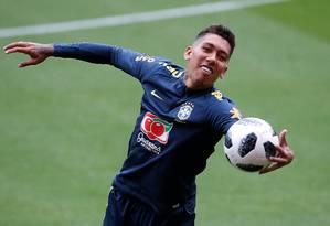 Mesmo perdendo protagonismo com mudança de time, atacante Roberto Firmino, do Liverpool, diz viver melhor fase Foto: CRAIG BROUGH / Action Images/Reuters