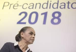 Pré-candidata à Presidência da Rede, Marina Silva participa de sabatina Foto: Daniel Marenco/Agência O Globo/06-06-2018