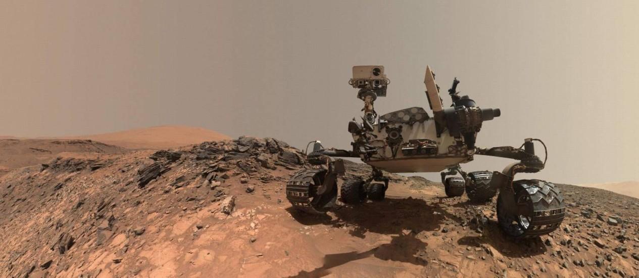 Imagem da NASA mostra robô em Marte Foto: HANDOUT / AFP