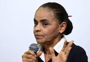 A pré-candidata à Presidência Marina Silva em sabatina em Brasília Foto: Evaristo Sá / AFP