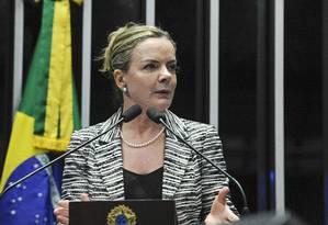 A senadora Gleisi Hoffmann (PT-PR) discursa na tribuna do Senado Foto: Moreira Mariz/Agência Senado/06-06-2018