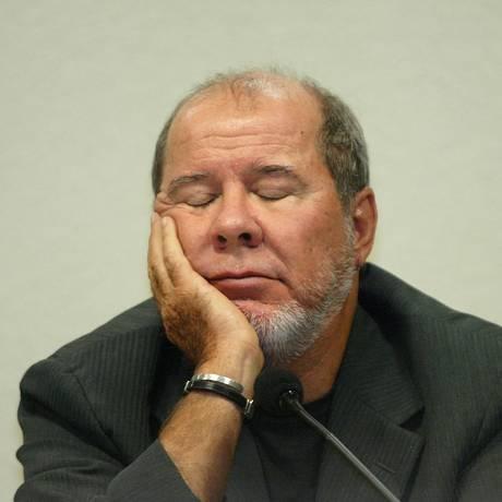 O publicitário Duda Mendonça, durante depoimento à CPI dos Correios. Foto: Gustavo Miranda/Agência O Globo/15-03-2006