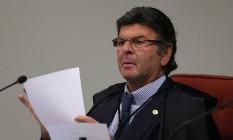 O ministro Luiz Fux, durante sessão da Primeira Turma do Supremo Tribunal Federal Foto: Givaldo Barbosa/Agência O Globo/22-05-2018