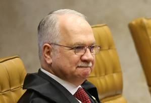 O ministro Edson Fachin, durante sessão do STF Foto: Ailton de Freitas/Agência O Globo/06-06-2018