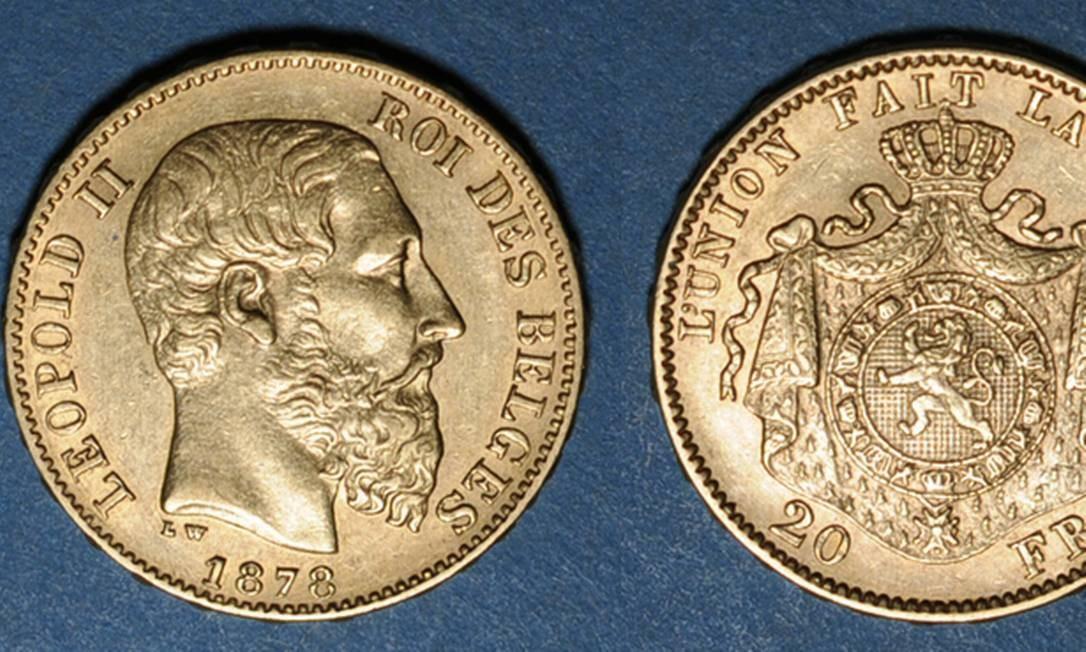 Imagem de moedas de ouro de 20 francos belgas com a efígie do rei Leopoldo II como as encontradas pelos operários na casa na França Foto: Reprodução