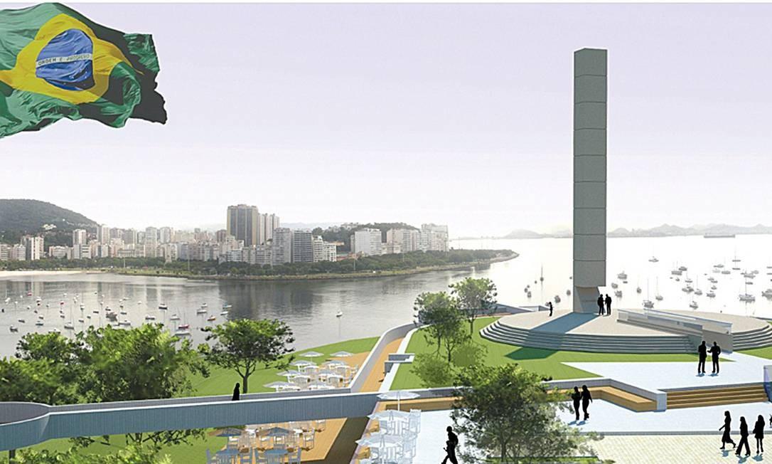 Simulação do projeto do memorial no Pasmado: os dez mandamentos seriam escritos na estrutura Foto: Reprodução