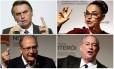 Os pré-candidatos à Presidência Jair Bolsonaro (PSL), Marina Silva (Rede), Ciro Gomes (PDT) e Geraldo Alckmin (PSDB) Foto: Arquivo O Globo