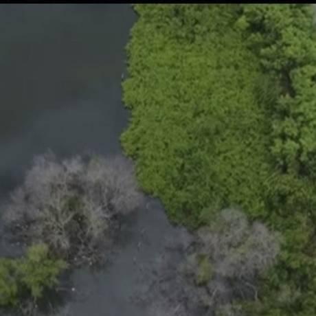 Drones. A Polícia Civil fez imagens aéreas no local do lançamento de esgoto in natura na Lagoa da Tijuca Foto: reprodução/polícia civil