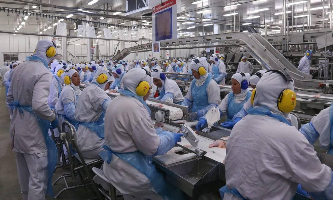 Linha de produção da fábrica da processamento de aves da JBS em Lapa, no Paraná Foto: / André Coelho/21-3-2017