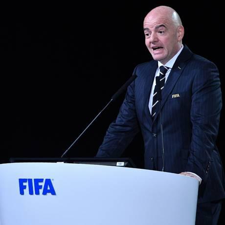 Presidente da Fifa, Gianni Infantino discursa na escolha da sede da Copa de 2026 Foto: Mladen Antonov / AFP