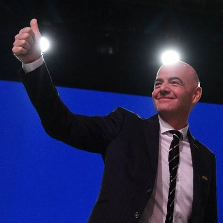 O presidente da Fifa, Gianni Infantino, no congresso da entidade em Moscou Foto: MLADEN ANTONOV / AFP