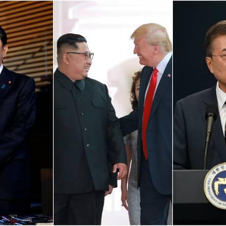 O premier japonês, Shinzo Abe; os líderes de Coreia do Norte e EUA, Kim Jong-un e Donald Trump; o presidente sul-coreano, Moon Jae-in Foto: AFP/Reuters