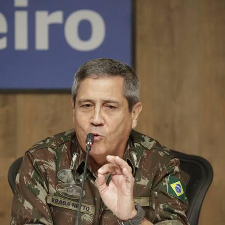 O general Braga Netto, durante entrevista em 27-02-2018 Foto: Gabriel de Paiva / Agência O Globo