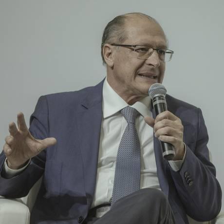 Geraldo Alckmin participa de sabatina em Brasília Foto: Daniel Marenco/Agência O Globo/06-06-2018