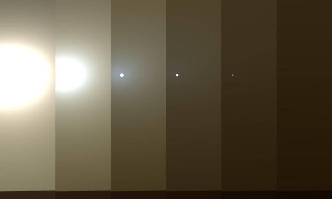 Série de imagens divulgada pela Nasa mostra uma simulação do escurecimento do céu de Marte em meio a uma tempestade de areia como a que o Opprtunity enfrenta no momento: sem radiação solar, painéis não conseguem recarregar baterias e equipamento entra em modo de economia de energia Foto: / NASA/JPL-Caltech/TAMU
