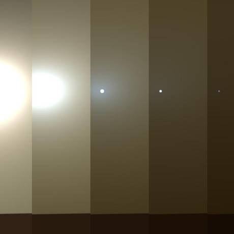 Série de imagens divulgada pela Nasa mostra uma simulação do escurecimento do céu de Marte em meio a uma tempestade de areai como o Opprtunity enfrenta no momento: sem radiação solar, painéis não conseguem recarregar baterias e equipamento entra em modo de economia de energia Foto: NASA/JPL-Caltech/TAMU