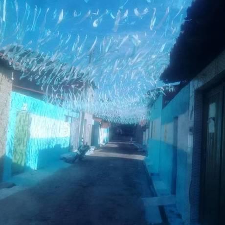 Moradores pintam rua no Piauí com as cores da Argentina Foto: Facebook/Reprodução