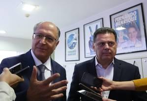 O pré-candidato do PSDB à Presidência, Geraldo Alckmin, e o ex-governador de Goiás Marconi Perillo Foto: Ailton de Freitas / Agência O Globo