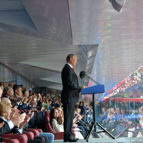 Presidente russo Vladimir Putin fez o discurso de abertura da Copa Foto: ALEXEY DRUZHININ / AFP