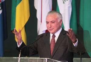 O presidente Michel Temer durante seminário na Academia Nacional da Policia Federal Foto: Ailton de Freitas/Agência O Globo/13-06-2018