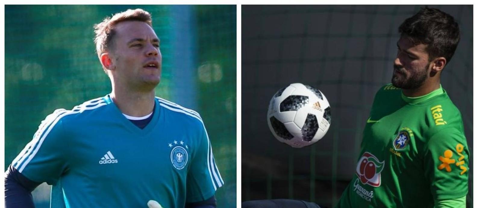 O alemão Neuer e o brasileiro Alisson estreiam neste domingo Foto  Reuters  e Alexandre Cassiano 93752ef1b029f