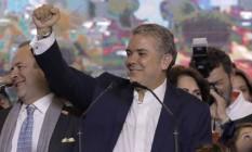 Iván Duque comemora vitória em Bogotá Foto: RAUL ARBOLEDA / AFP