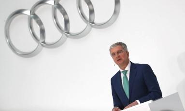 CEO da Audi, Rupert Stadler, durante conferência anual da companhia em Ingolstadt, na Alemanha Foto: Michael Dalder / REUTERS