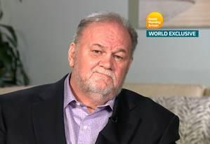 """Thomas Markle, pai de Meghan Markle, em entrevista à emissora britânica """"ITV"""" Foto: HANDOUT / REUTERS"""