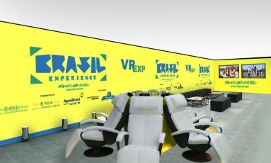 Brasil Experience: lounge em que os visitantes poderão conhecer um pouco mais do país Foto: Divulgaçáo