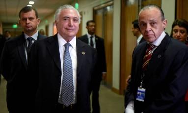 O presidente Michel Temer, durante cúpula de presidentes do Mercosul Foto: Norberto Duarte / AFP