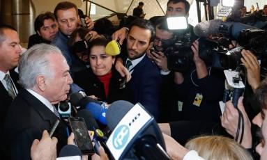 O presidente Michel Temer, durante entrevista coletiva Foto: Cesar Itiberê/Presidência