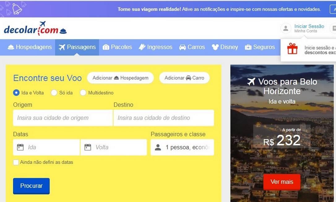 Decolar.com foi multada por discriminar preço e oferta de vagas de acordo com a localização do consumidor Foto: / Reprodução