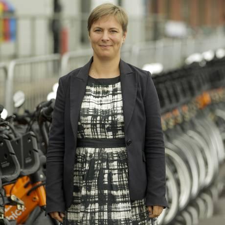 Marie Kastrup, chefe do departamento de bicicletas de Copenhagen, na Dinamarca Foto: Gabriel de Paiva / Agência O Globo