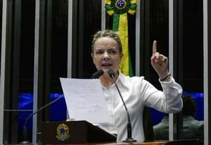 A senadora Gleisi Hoffmann (PT-PR) discursa no Senado Foto: Roque de Sá/Agência Senado