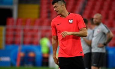 Lewandowski é a esperança de gols da Polônia Foto: ALEXANDER NEMENOV / AFP