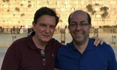 Rafael Alves em 2016, em visita a Jerusalém junto com o prefeito Marcelo Crivella, na época recém-eleito para administrar o município do Rio Foto: Facebook / Reprodução