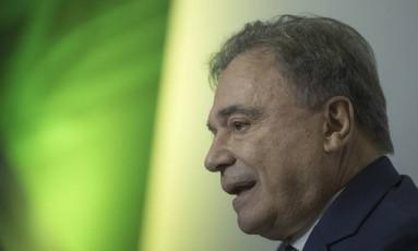 O senador Alvaro Dias participa de sabatina em Brasília Foto: Daniel Marenco/Agência O Globo/06-06-2018
