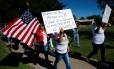 Manifestantes de El Paso, no Texas, protestam contra a política do governo Trump de separar famílias imigrantes Foto: MIKE BLAKE / REUTERS