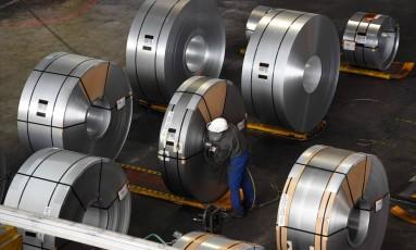Unidade de produção de aço em Salzgitter, na Alemanha. Foto: Tobias Schwarz/AFP