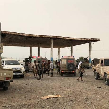 Forças pró-governo se aproximam de porto de Hodeida, no Iêmen Foto: STRINGER / AFP
