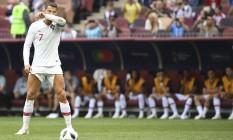Cristiano Ronaldo: quatro gols em dois jogos na Copa do Mundo Foto: KIRILL KUDRYAVTSEV / AFP